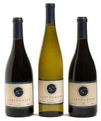 three bottles of Cartograph wine