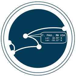 Cartograph logo with the latitude and longitude for St. Paul, MN