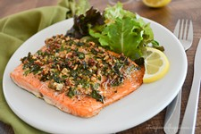 Pecan-Crusted Salmon with Sorrel Sauce