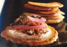 Corn Pancakes With Carnitas & Pickled Red Onion