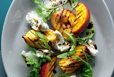 Grilled Salmon with Peach, Burrata and Arugula Salad