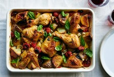 Baked Chicken With Potatoes, Cherry Tomatoes and Herbs