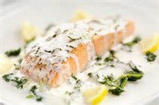 Poached Salmon with Fresh Morel Mushrooms, Tarragon, and Cream