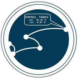 Cartograph logo with the latitude and longitude for Pentrez France